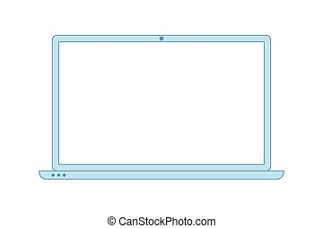Laptop line blue icon. Minimalist style blue laptop. Notebook template with empty display. Outline style icon. Flat vector illustration.