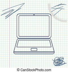 Laptop line sketch icon isolated on white background. Computer notebook with empty screen sign. Vector Illustration
