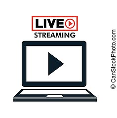 laptop live streaming play multimedia vector illustration
