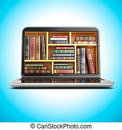 laptop, livro biblioteca, internet, store., e-aprendendo, educação, ou