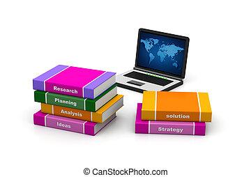 laptop, livro, negócio