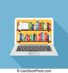 laptop, livros, estantes