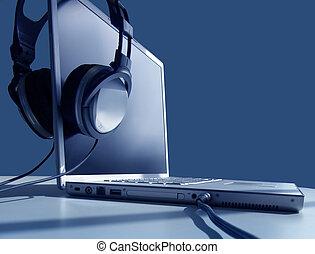 laptop, lyssnande