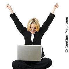 laptop, m�dchen, glücklich