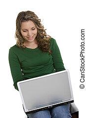 laptop, m�dchen