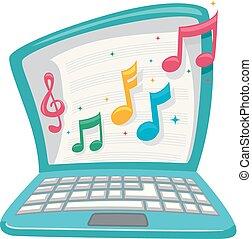 laptop, música, classe, ilustração, online