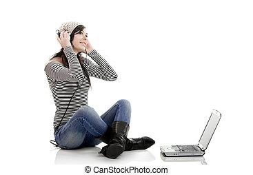 laptop, música, escutar