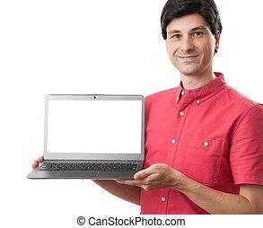 laptop, młody, komputer, pociągający, dzierżawa, okienko osłaniają, człowiek
