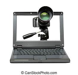 laptop, macchina fotografica, treppiede