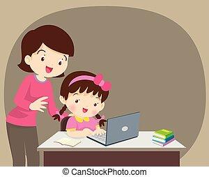laptop, madre, ragazza, seduta