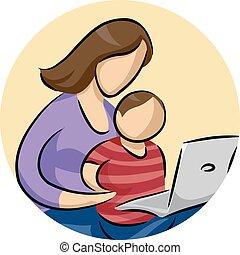 laptop, mamma, bambino