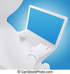 laptop, mann, weißes, arbeitende , 3d