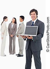 laptop, mannschaft, schirm, verkäufer, ausstellung, lächeln, hinten, ihm