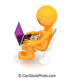 laptop, marionetka, pracujący, 3d