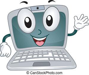 Laptop Mascot - Illustration of a Laptop Mascot Waving...