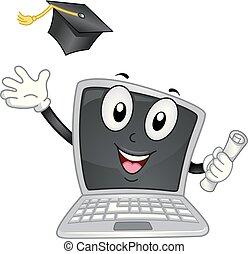 Laptop Mascot Graduate Illustration