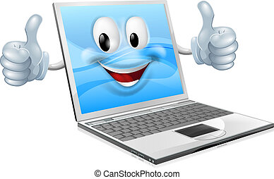 laptop, mascote, homem