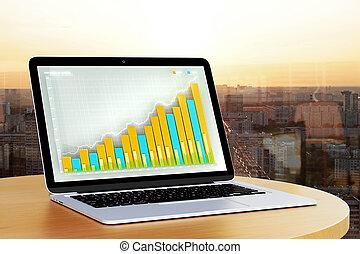 laptop, med, affär, graf, på, den, avskärma, 3, framförande
