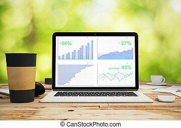 laptop, med, affär, graf, på, den, trä tabell, med, kaffe kopp, utomhus