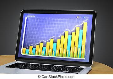 laptop, med, affär, kartlägga, på, den, avskärma