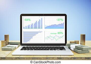 laptop, med, finansiell, topplista, på, den, trä tabell, och, pengar