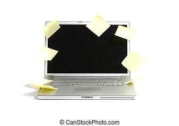 laptop, med, noteringen