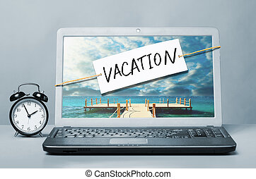 laptop, med, semester, anteckna
