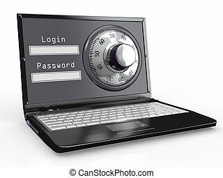 laptop, med, stål, säkerhet, lock., lösenord