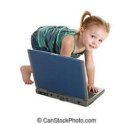laptop, menina, casual