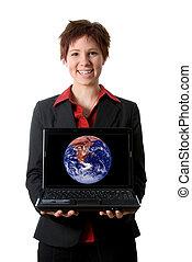 laptop, menina, feliz