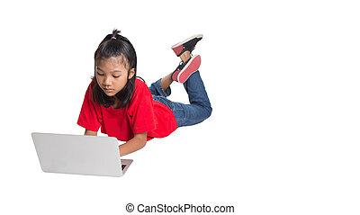 laptop, menina jovem, asiático