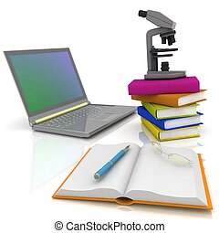 Laptop, microscope and books