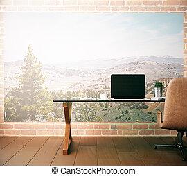 laptop, miejsce pracy, czysty