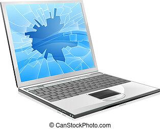 laptop, mit, kaputte , schirm