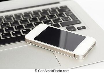 laptop, mit, klug, telefon