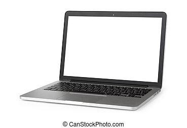 laptop, mit, leerer schirm