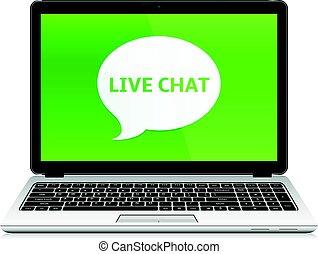 laptop, mit, live unterhaltung