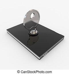 laptop, mit, schloß, und, key., begriff, von, security.