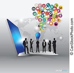 laptop, mit, wolke, von, farbe, anwendung, icons., vektor,...