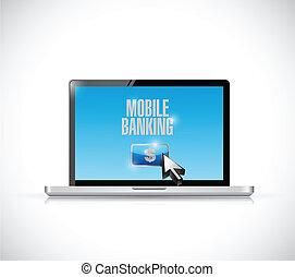laptop mobile banking illustration design