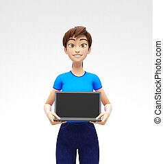 Laptop Mockup With Blank Screen Held by Smiling and Happy 3D Character
