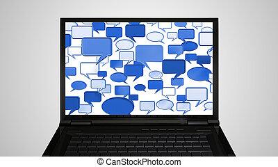 laptop Monitor display conversation blue