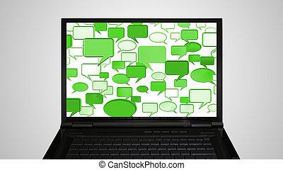 laptop Monitor display conversation green