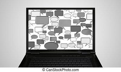 laptop Monitor display conversation grey