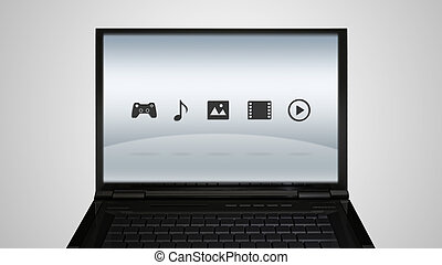 laptop monitor display with entertainment icon