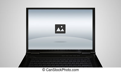 laptop monitor display with image icon