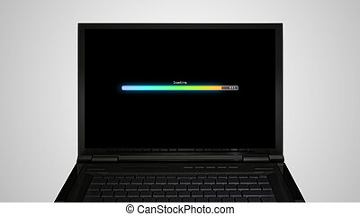 laptop Monitor display with loading color bar