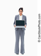 laptop, mostrando, saleswoman, tela, dela
