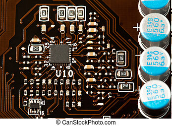 Laptop motherboard closeup view