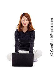laptop, mulher, asiático